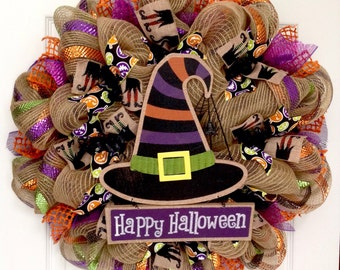 Happy Halloween Witch Hat Deco Mesh Halloween Wreath