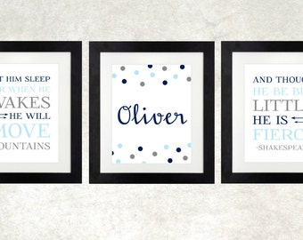 Boy Nursery // Nursery Name // He Is Fierce // Move Mountains // Baby Shower Decor // Navy Gray and Light Blue // Set 3 // ANY Colors