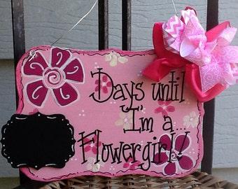 Flower girl countdown sign, flower girl sign, bridal countdown sign, wedding countdown sign, bridal party sign, wedding party sign, wedding