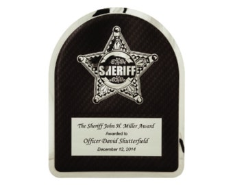 Personalized Sheriff Hero Plaque Chrome Plated Stainless Steel