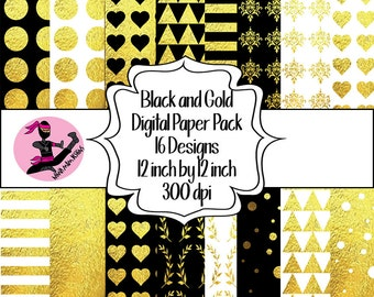 Black and Gold Digital Paper Pack- 16 Sheets- Instant Download