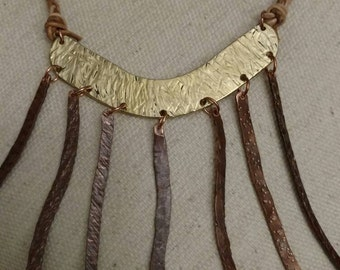 FREE SHIPPING Copper Necklace, Braided Leather Chain, Bib Style, Recycled, Hammered, Statement Piece, Patina