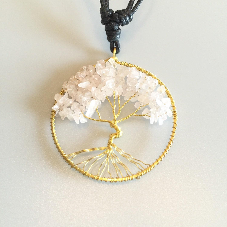 SALE Tree Of Life Pendant Light Rose Quartz Pendant Wire