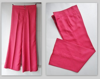 70s Deadstock Highwaisted Pink Vintage Flare Pants // Size S/M