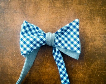 Reversible self-tie bow tie - blue and white gingham + grey