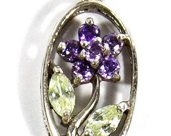 Vintage Purple Crystal Flower Sterling Silver Pendant