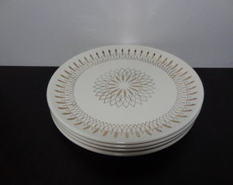 Vintage Atomic Gold Starburst Dinnerware - Set of 4 Starburst Dinner Plates -  Mid Century Modern