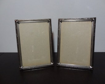 Vintage 5 x 7 Silver Tone Picture Frames with Flourishes Design - Set of 2 - Hollywood Regency/Paris Apartment