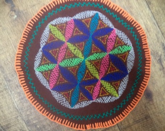 Shipibo Flower of Life Patch/Ayahuasca-Hippie and Shamanic-tribal patches sacred geometry patch-rainbow-