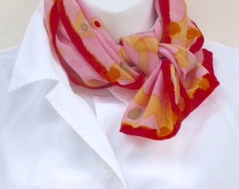 Hand painted silk scarf. Pink painted silk scarf with yellow, red and green.  Pink neck scarf, handpainted.  Small pink painted scarf.