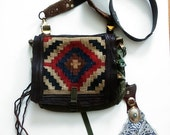 SUMMER SALE Vintage Southwestern Kilim  Up-cycled Compartment Purse / Shoulder Bag / Bohemian / Gypsy  / Leather Accents / Cross Body Bag