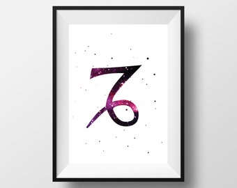 Capricorn print, Capricorn art, Capricorn poster, Capricorn decor, Zodiac Signs, Capricorn wall decor, Capricorn room decor, Capricorn gift