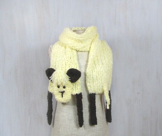 Warm knitted crochet lamb shaped scarf animal shawl cream