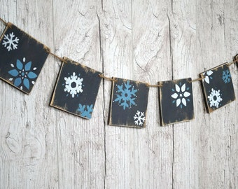 Rustic Christmas banner Wooden Christmas garland Snowflake decor Christmas decorations