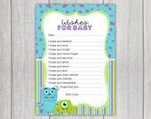 Monsters Inc Inspired Baby Wishing Well Card