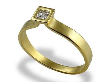Diamond Engagement Ring , Princess Cut Diamond Ring , Gold Engagement Band , Princess Cut , Gemstone Engagement Ring , For Women