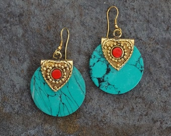 Turquoise Earrings, Brass Earrings, Boho Earrings, Coral Earrings, Hippie Earrings, Ethnic Earrings, Bohemian