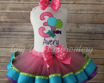 Candy Shoppe Tutu Outfit ~  Candyland Birthday Outfit ~ Includes Top, Ribbon Tutu and Hair Bow~ Customize In Any Colors of Your Choice!