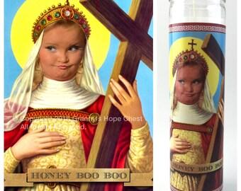 "Honey Boo Boo Prayer candle. Saint Boo Boo! Great gift! Premium Handmade 9"" Soy Candle!"