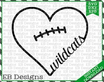 Wildcats Football Love SVG DXF EPS Cutting Machine Files Silhouette Cameo Cricut Valentine Vinyl Cut File Valentine Vector svg file