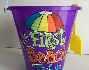 Personalized Sand Bucket | personalized sand pail | personalized beach bucket | beach photo prop | baby photo prop | painted sand bucket