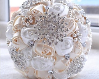 Ivory White Satin Bridal Bouquet - Roses Pearls Crystals