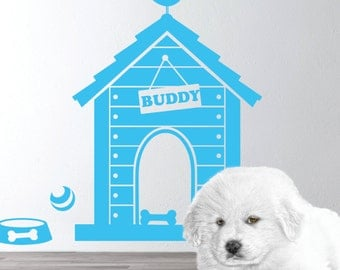 Dog house wall decal -  Puppy Dog Theme -  Personalized Dog house Wall Decal - Dog Name Decal - Puppy house wall sticker - For dog lovers
