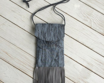 Fringed gray black phone neck pouch