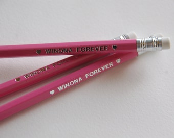 Winona Ryder Pencil // winona forever, stamped pencil, geek gift, gift for her, stationery, geek gift