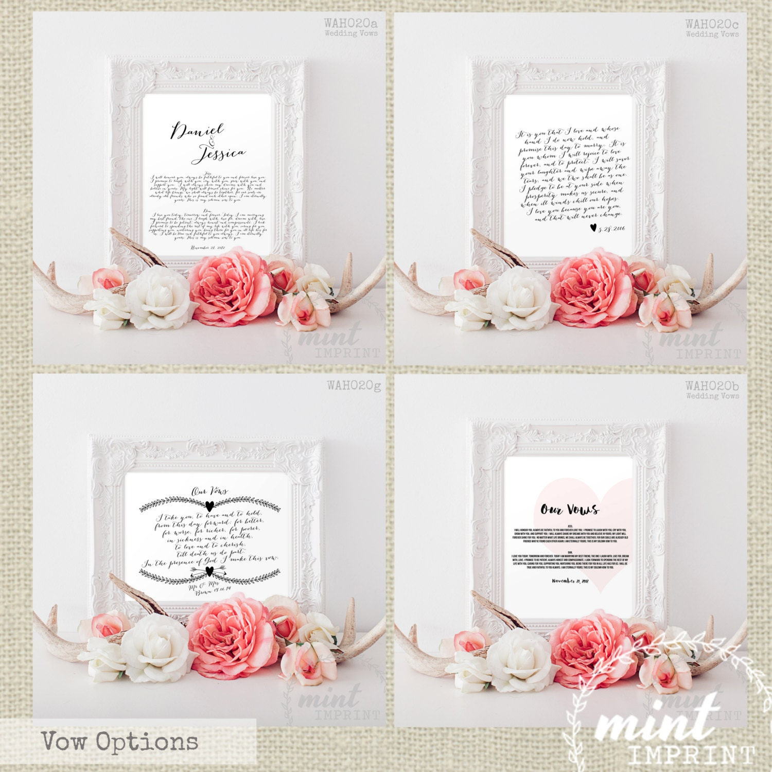 Wedding Vow Ideas For Groom: Wedding Vows Print / Bride And Groom Wedding Vows By