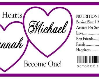 50 PURPLE HEARTS WEDDING water bottle labels half wrap design ~ glossy ~ waterproof ink