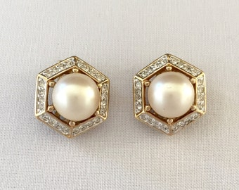 Vintage Panetta Faux Mabe Pearl Earrings set in Hexagon of Rhinestons & Gold Tone Metal-Gift,Bride,Wedding,Mother of the Bride,Bridesmaids