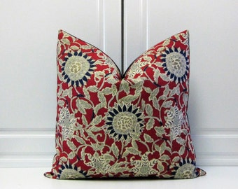 Ralph Lauren Decorative Pillow Cover-Indigo Blue-Sunflower-Poppy-Linen-18x18,20x20-22x22-24x24
