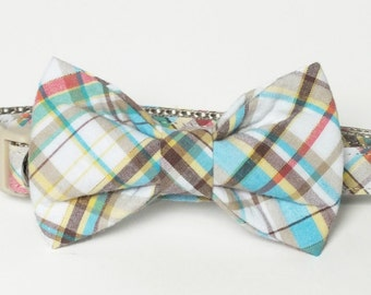 Plaid Dog Collar Bow Tie set