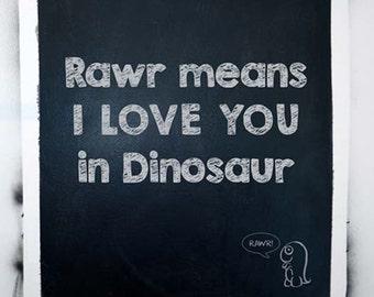 Nursery Chalkboard Art Lettering, Rawr Means I Love You in Dinosaur, Nursery Decor, Chalkboard Wall Art, Nursery Quote Wall art