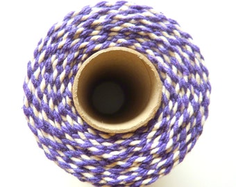 10m Bakers Twine 12plyPurple and White 2mm 100 % Cotton Crafts British Made
