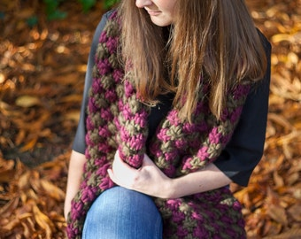 Woolen Chunky Knitted Scarf - Khaki Green & Margaux Red - 40% discount End of Season Sale - Clearance