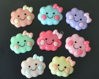 20pcs 24mm*20mm Mix Color Lovely Resin Smile Cloud With Bow Flatback Cabochon Cell Phone Decor