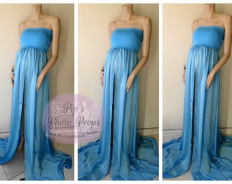 Maternity Gown Sheer Blue