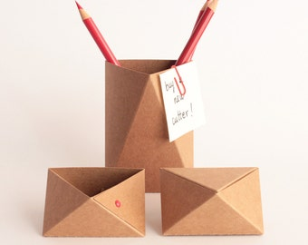 boite en papier origami gris brun noir 3box par kingkongdesignshop. Black Bedroom Furniture Sets. Home Design Ideas