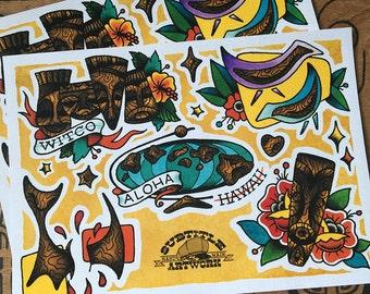 Tiki Tattoo Flash A4 Sheet giclee print, Witco, hot rod, hawaii, luau, handmade, rockabilly, kustom kulture, vintage, limited edition