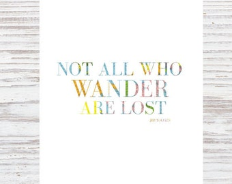"""Digial Travel Printable """"Not All Who Wander Are Lost"""" Wanderlust Life Map Tolkien Lord of the Rings"""