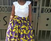 Purple Yellow Midi Skirt, African Clothing, African Skirt; Skirts