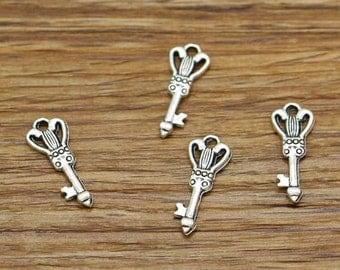 100pcs Heart Key Charms Antique Silver Tone Small House Key Charm 8x19mm 2597