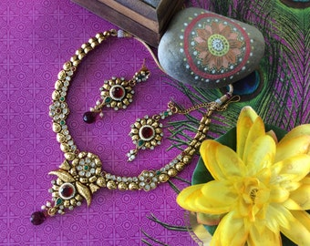 1 gm gold plated 3 pc Necklace Set with Mang Tikka
