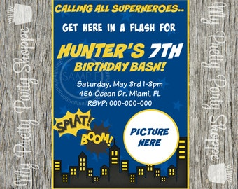 Super Hero / Comic Book / Superhero Birthday Party Invitation / Invite