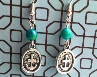 Handmade Silver Nautical Anchor Earrings with Blue Bead