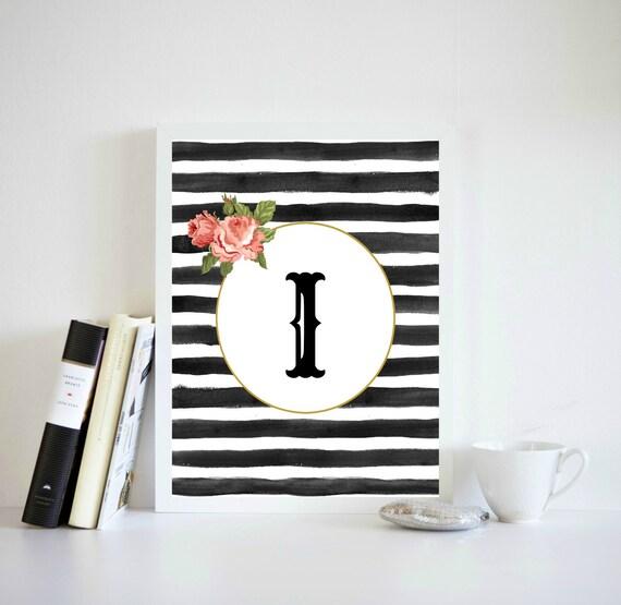 Monogram Home Decor Alphabet Letter I Print Black And White