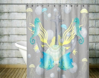 Octopus Tentacle Shower Curtain Gray And Tan By FolkandFunky
