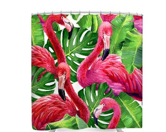 Flamingo  Shower Curtain Bold Tropical Pink